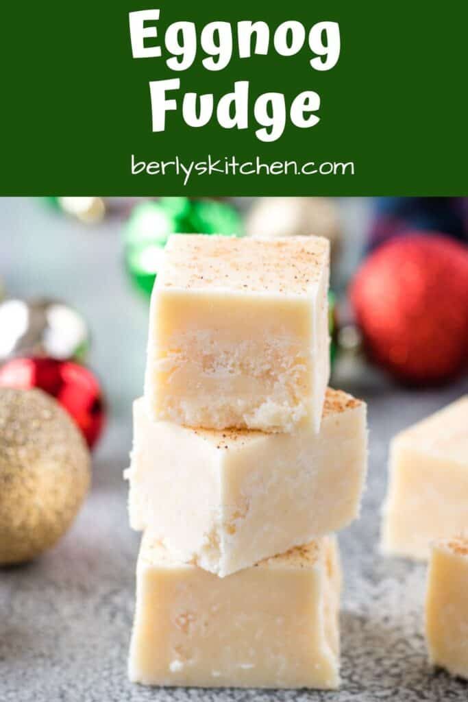 Eggnog fudge stacked up on a counter.