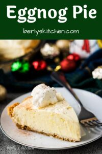 A slice of no-bake eggnog pie topped with whipped cream.