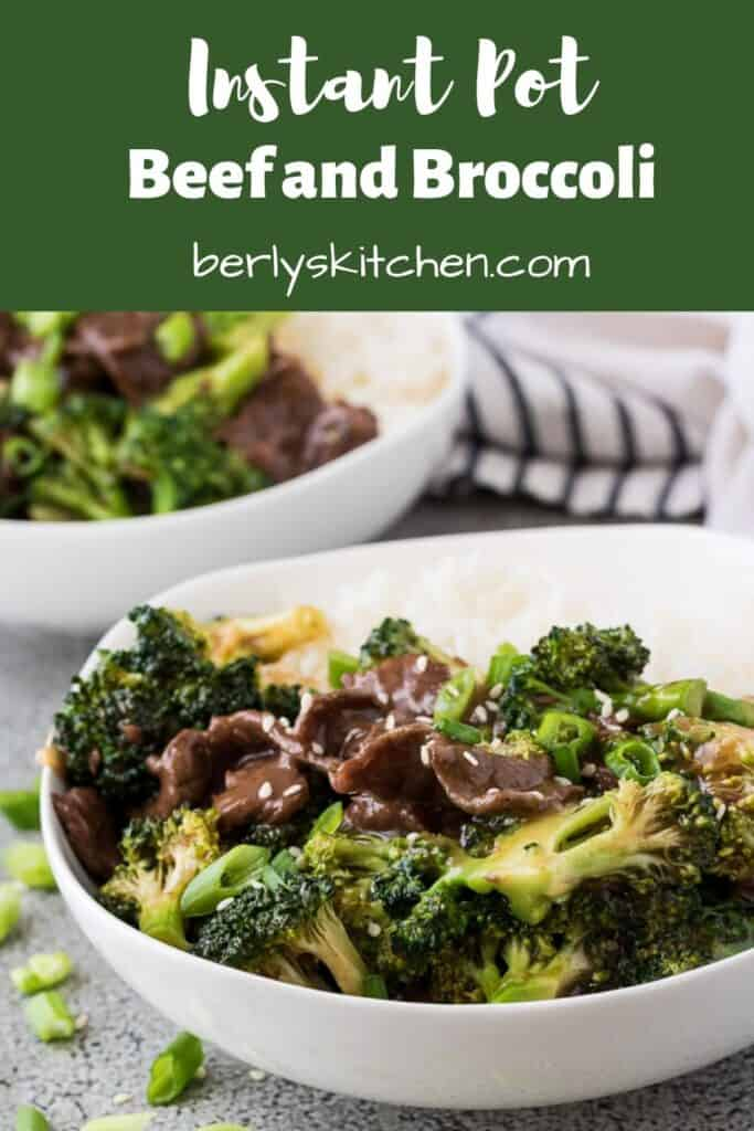 The Instant Pot beef broccoli served with rice and sesame seeds.