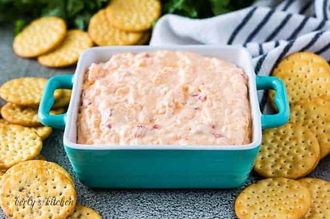 The pimento cheese recipe served in a decorative square bowl.