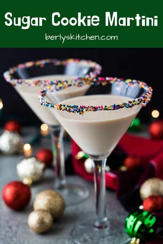 The finished sugar cookie martini in a garnished martini glass.