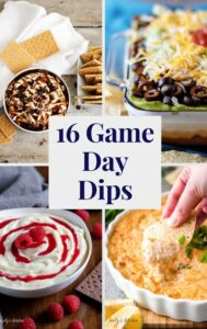Cheesecake dips, crab dip, and seven layer dip in a collage.