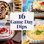 Two cheesecake dips and two savory dips in a collage.