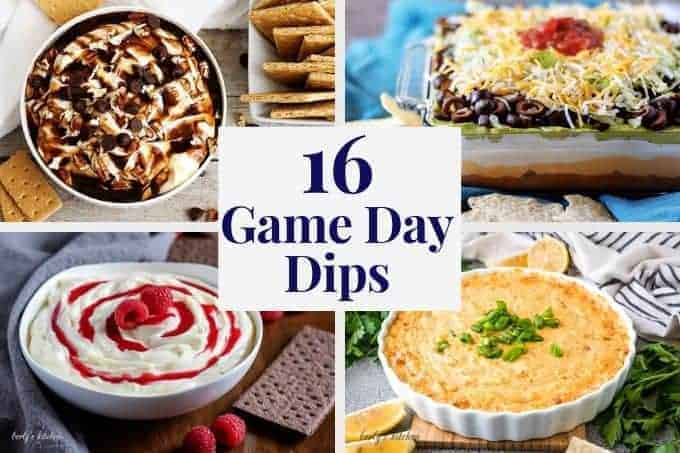 Four delicious game day dip recipes in a square collage.