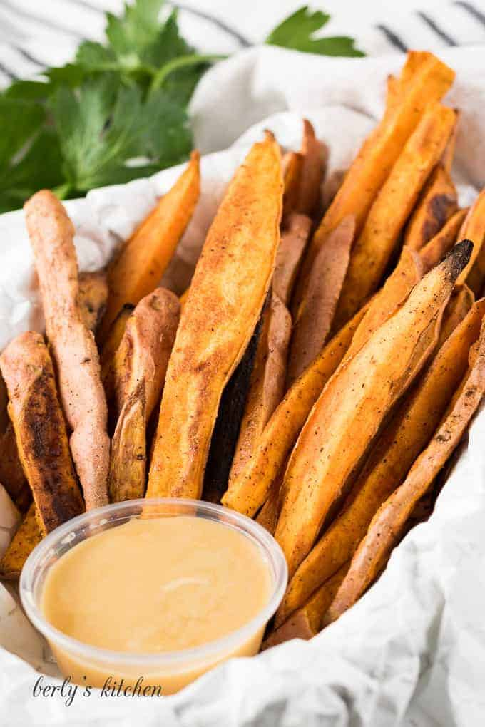 Sweet potato french fries with maple butter.