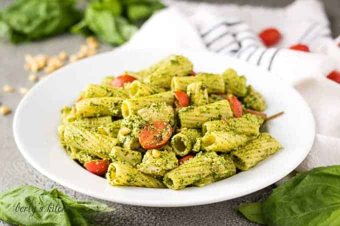 The chicken pesto pasta with grape tomatoes and red onions.