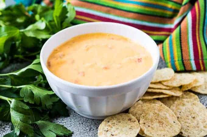 The easy Instant Pot cheese dip served with tortilla chips.