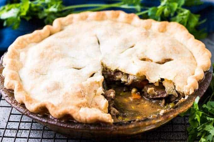 The beef pot pie cut open to show the filling.