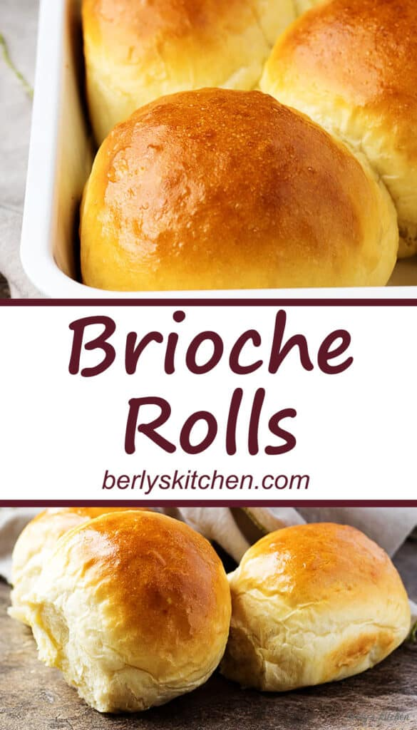 Collage of brioche roll photos used for Pinterest with text in the center.