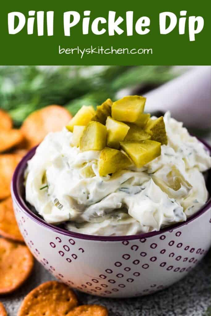 Our crunchy dill pickle dip served with small pretzel crackers.