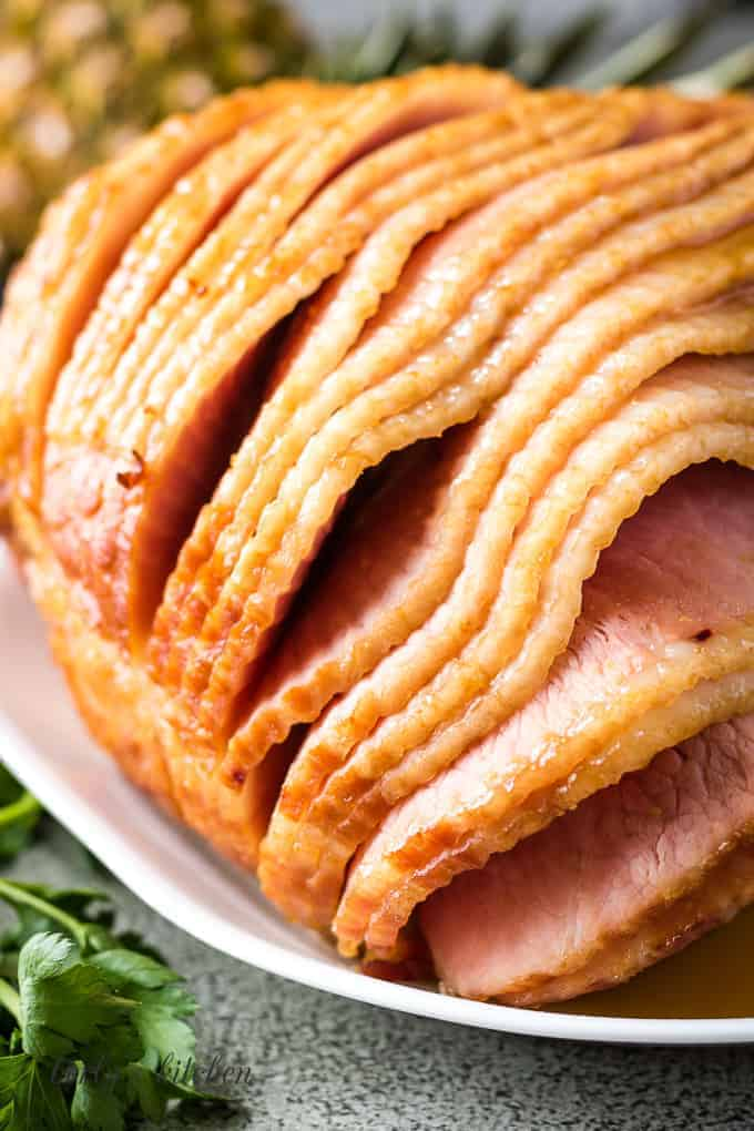 A close-up of the finished baked ham.