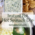 Instant Pot hot spinach dip photos used for Pinterest.
