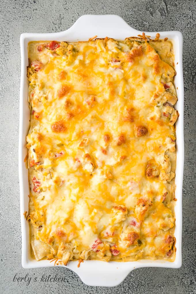 A top-down view of the baked King Ranch chicken casserole.