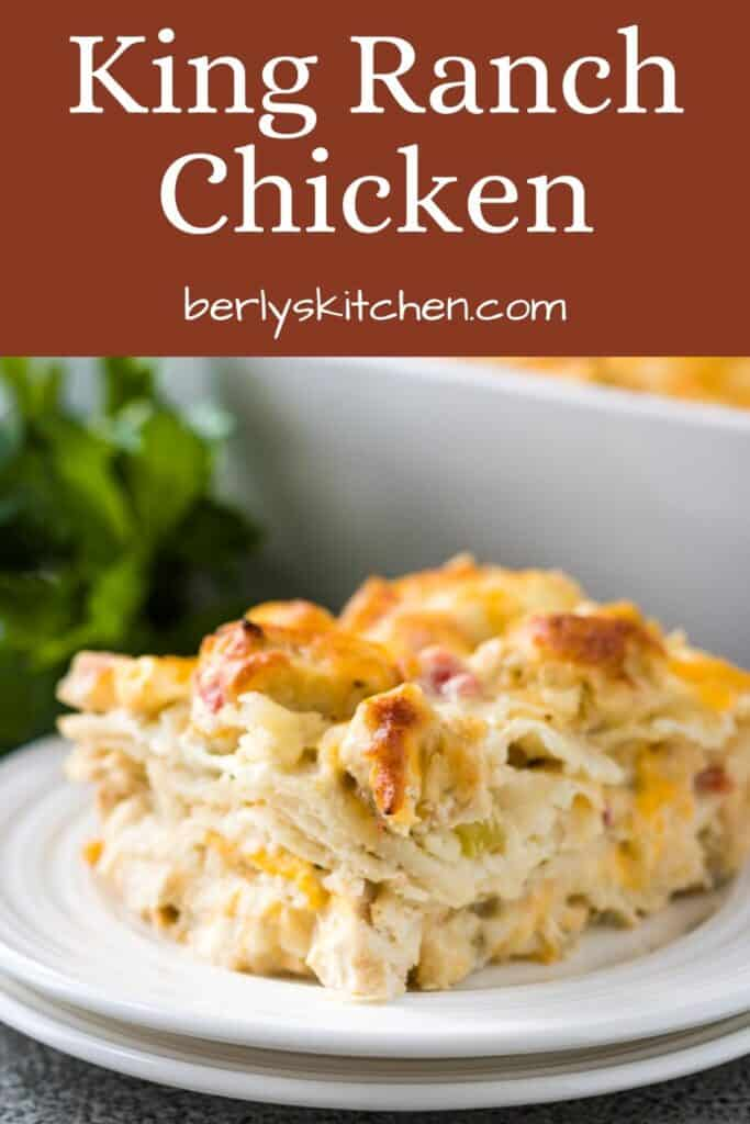 A square slice of the finished King Ranch chicken casserole.