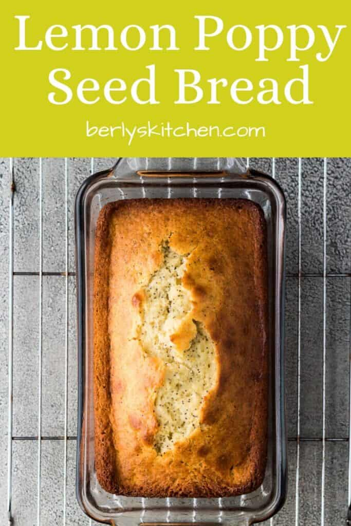 Baked lemon poppy seed bread in a loaf pan.