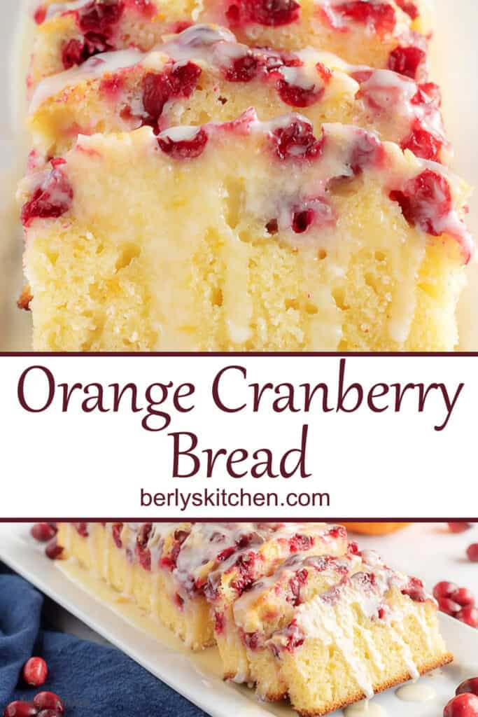 Collage of photos of orange cranberry bread used for pinterest.