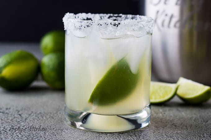 The margarita served on the rocks with salt and lime.