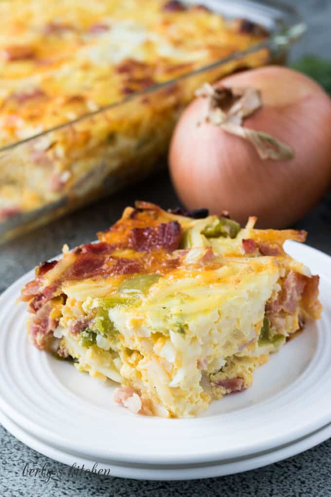 One pieces of the easy breakfast casserole on a plate.