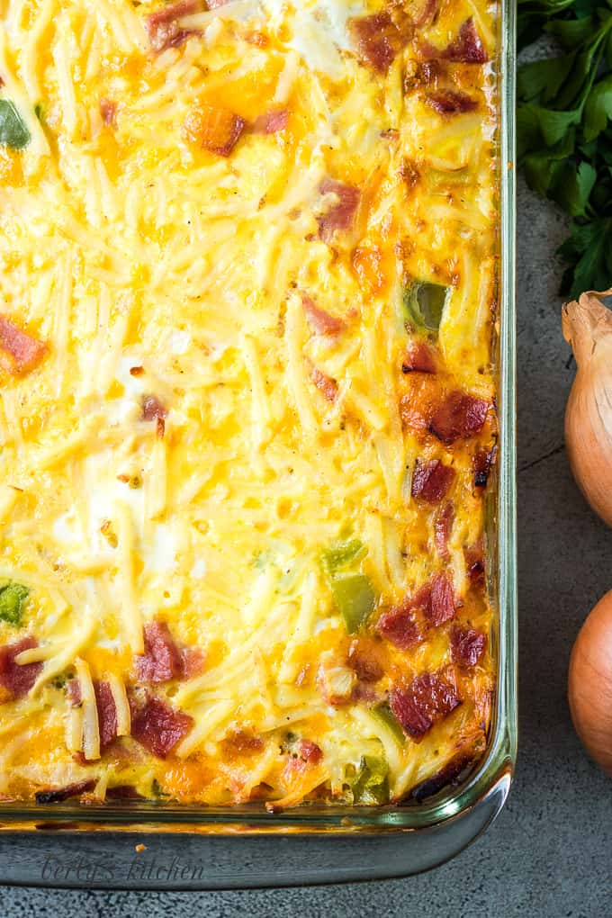 An aerial view of the baked casserole with ham.