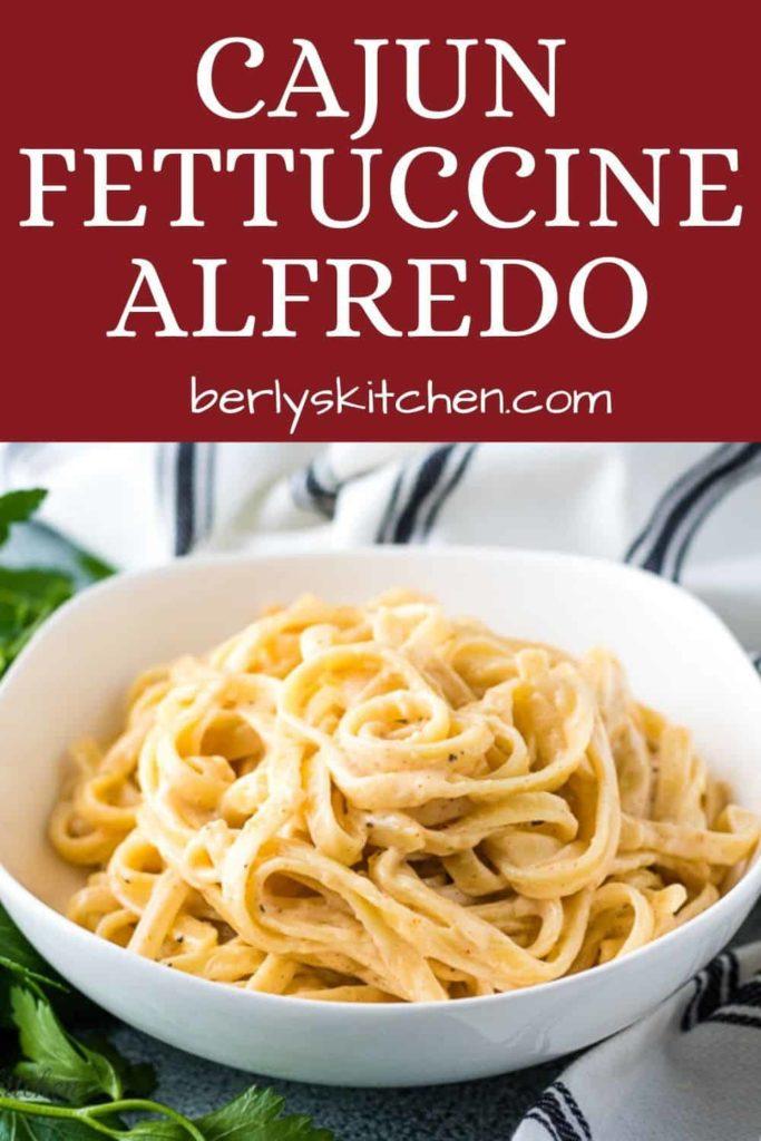 Spicy fettuccine alfredo in a white bowl.