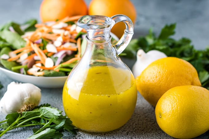The citrus vinaigrette served with a fresh Spring salad.