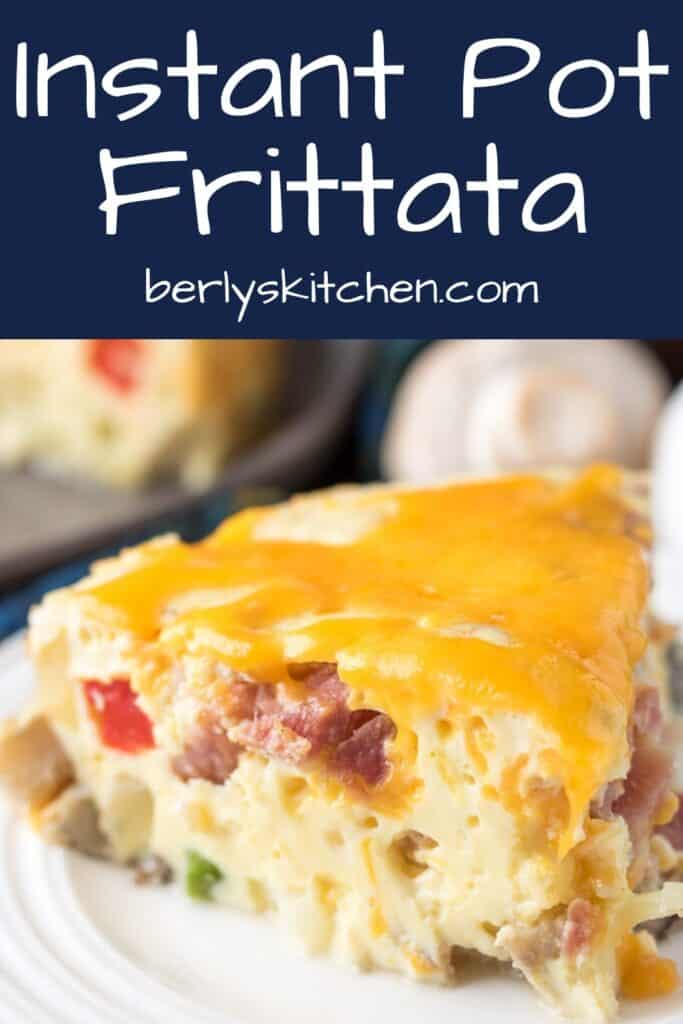 A slice of the pressure cooker frittata with melted cheese.
