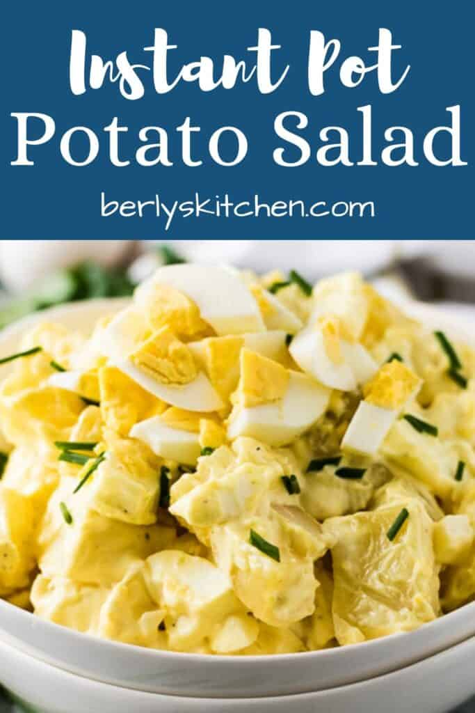 Instant Pot potato salad photo with blue text overlay used for Pinterest.
