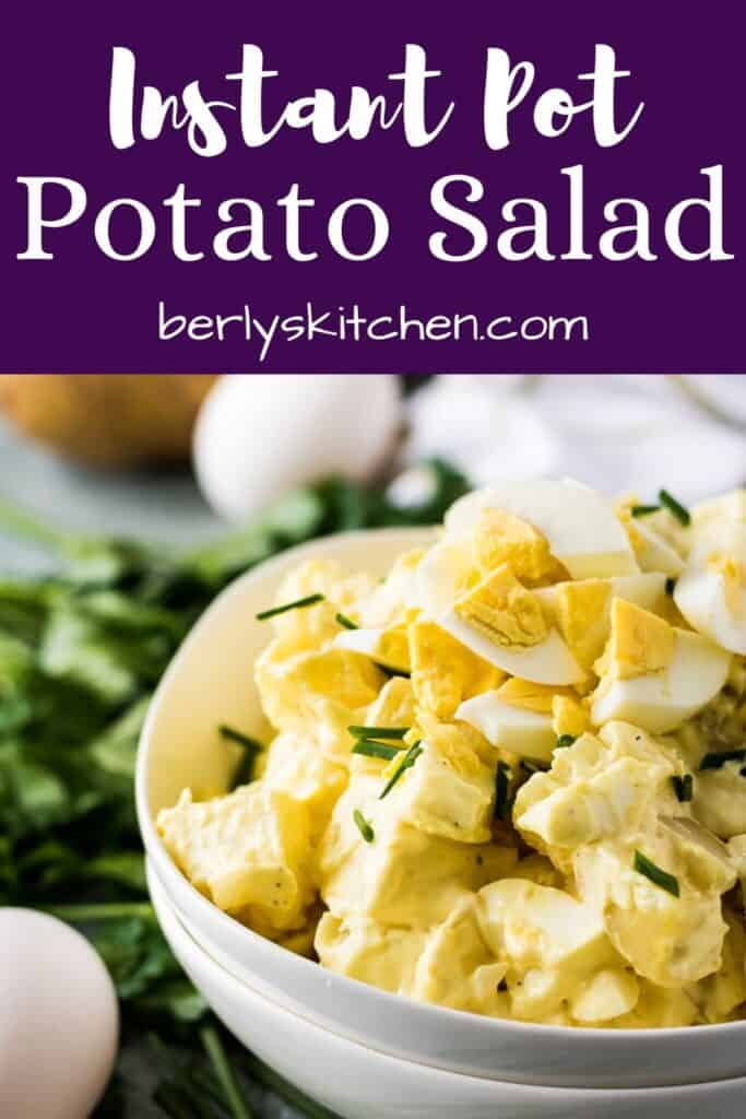 Potato salad image used for Pinterest with purple text overlay.