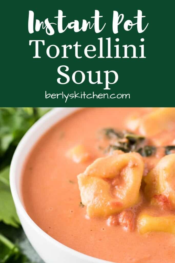 A bowl of the Instant Pot creamy tortellini soup.