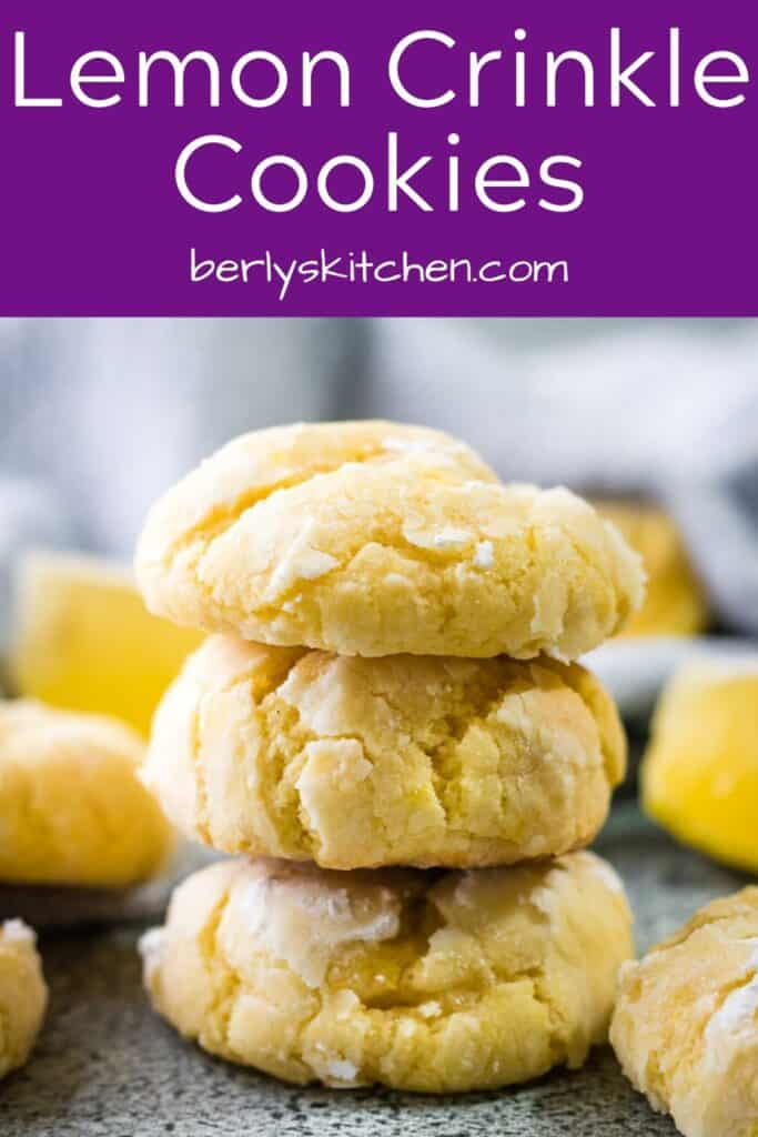 A stack of three lemon crinkle cookies on a counter-top.