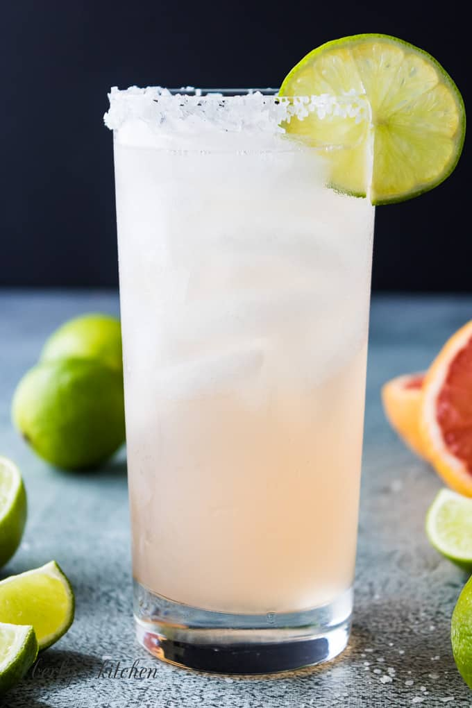A close-up of the finished paloma cocktail.