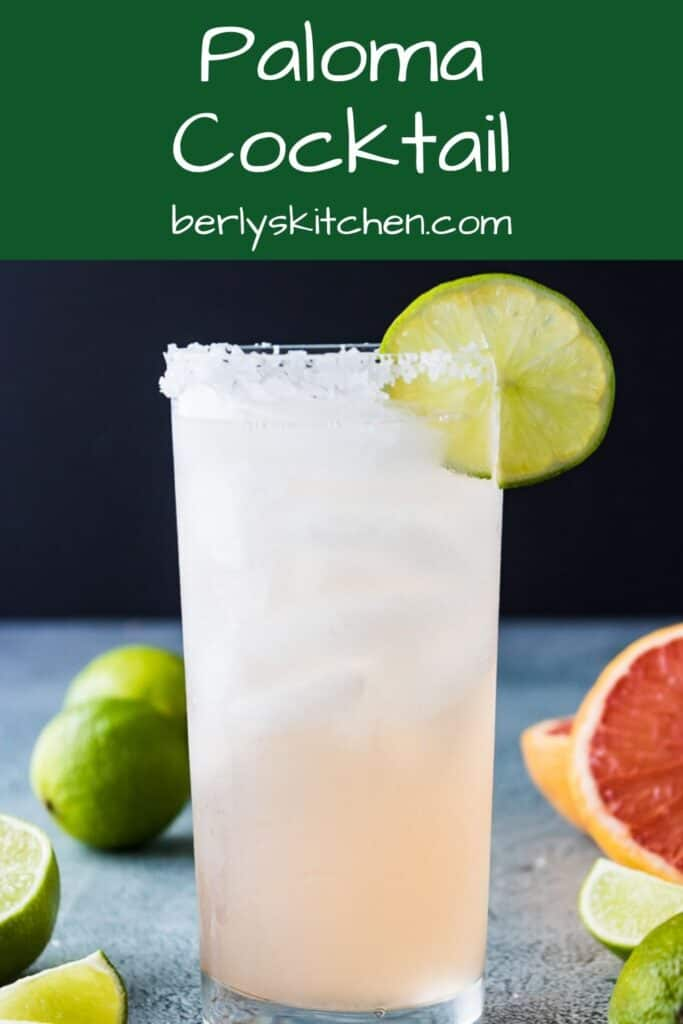 The finished paloma cocktail garnished with lime and salt.