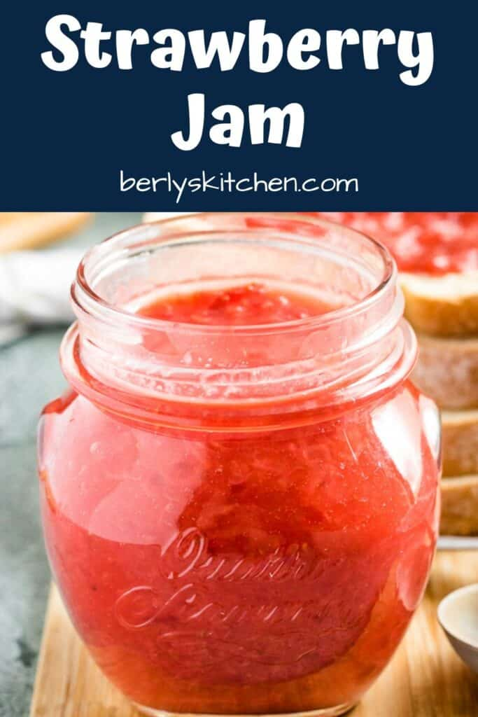 A close-up of the finished Sunday morning strawberry jam.
