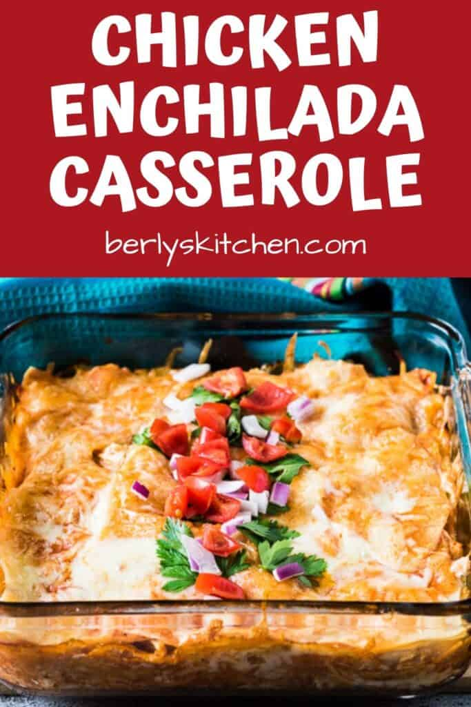 The layered chicken enchilada casserole topped with tomatoes and parsley.