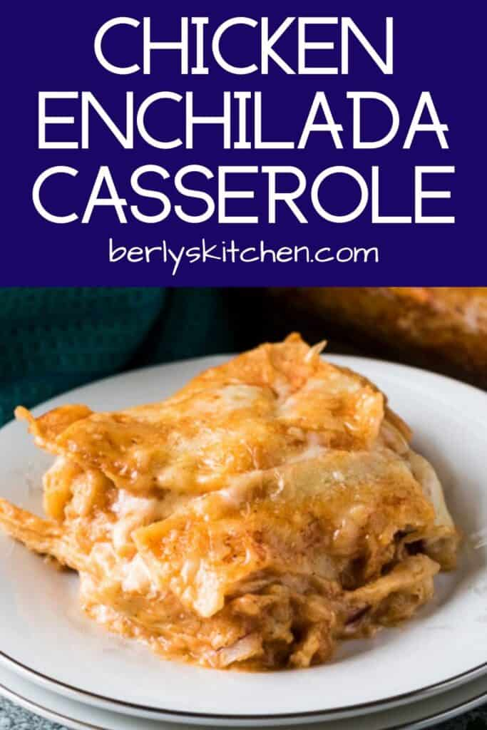 A serving of the cheesy layered enchilada casserole on a small plate.