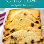A front view of the chocolate chip loaf cake on a platter.