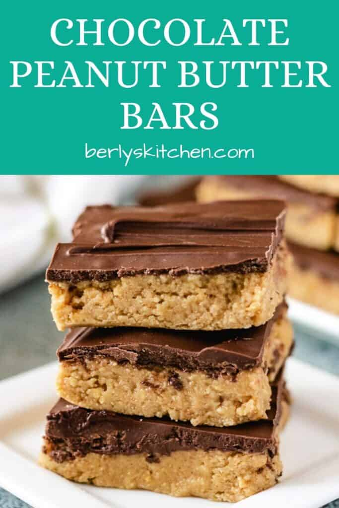 Three squares of the chocolate peanut butter bars on a plate.