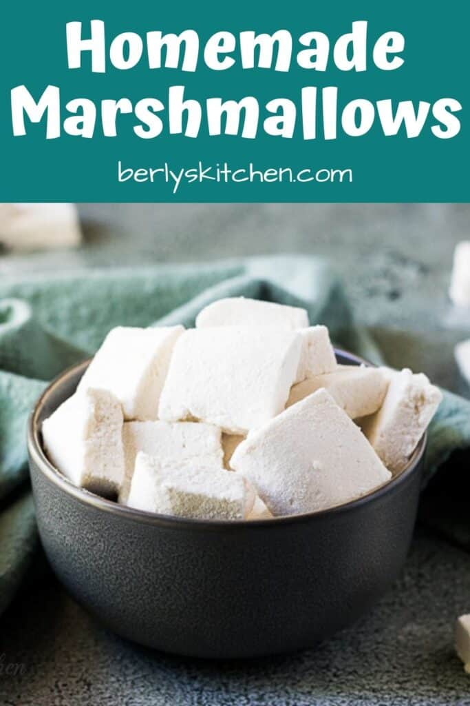A large green bowl filled with the simple marshmallows.