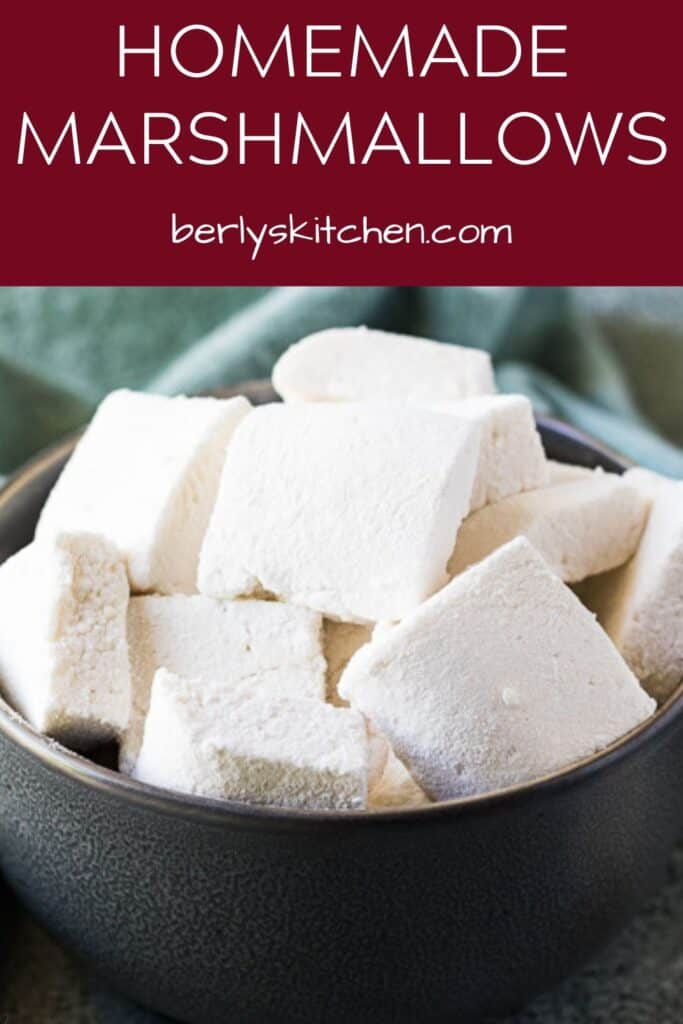 A close-up of the homemade marshmallows showing the powdered sugar.