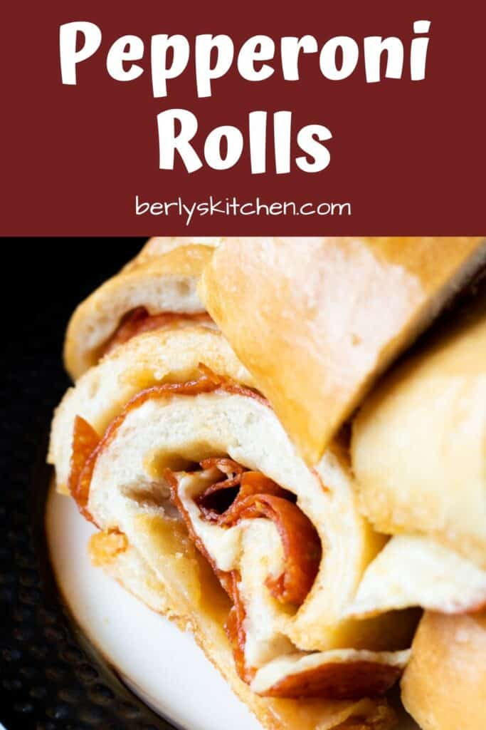 Pepperoni rolls loaded with meat and gooey cheese.