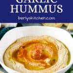 The roasted garlic hummus drizzled with olive oil and paprika.
