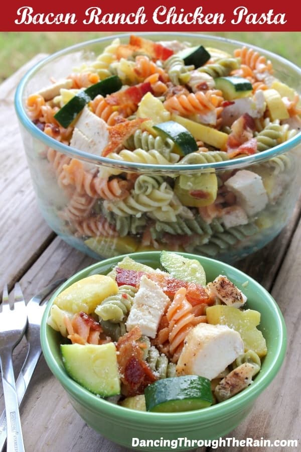 The bacon and ranch chicken pasta in a bowl.