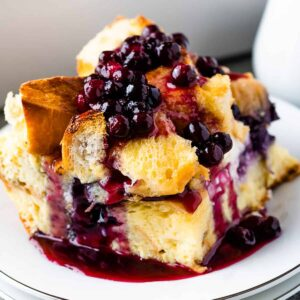 Blueberry French Toast Casserole on a plate.