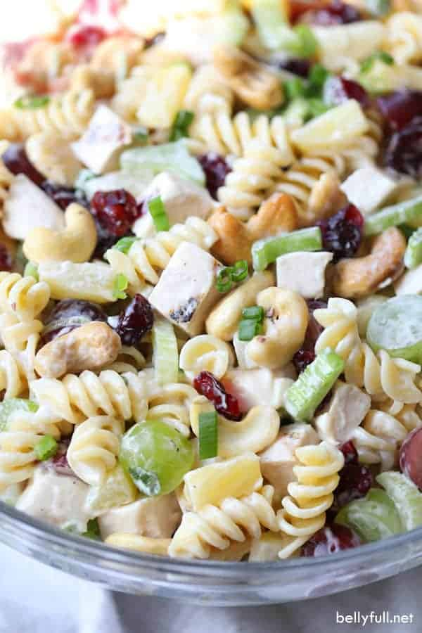 An up-close photo of the cashew chicken pasta focused on the ingredients.