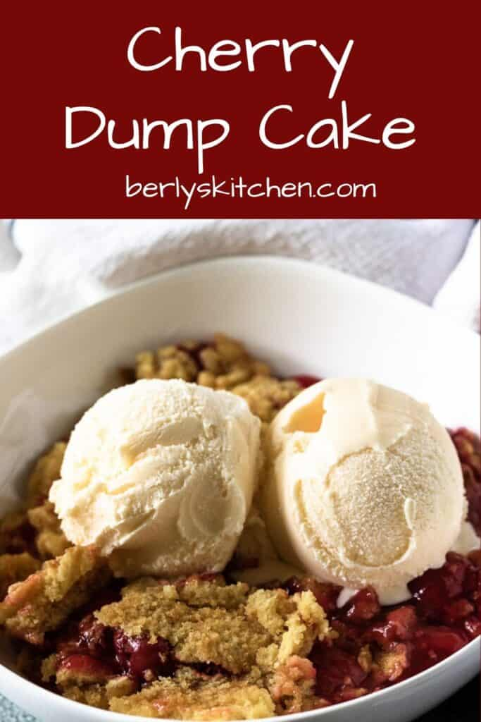 The cherry dump cake topped with ice cream.