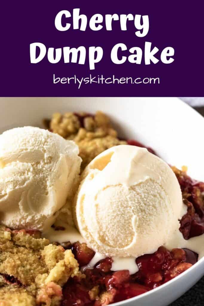The finished cherry dump cake recipe served with ice cream.