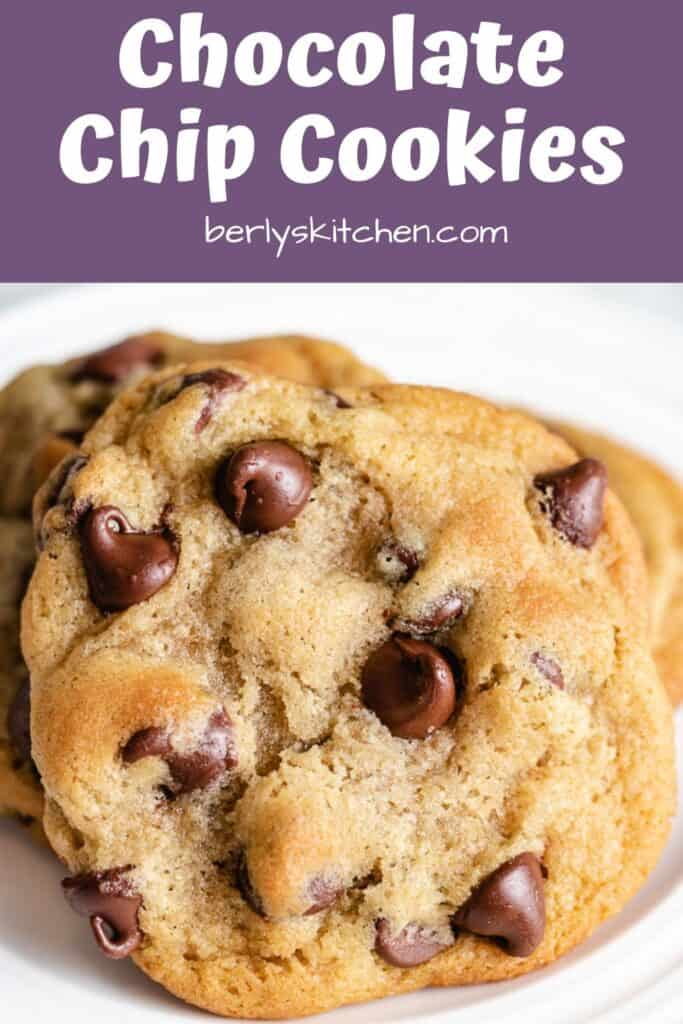 A close-up view of a soft chocolate chip cookie.