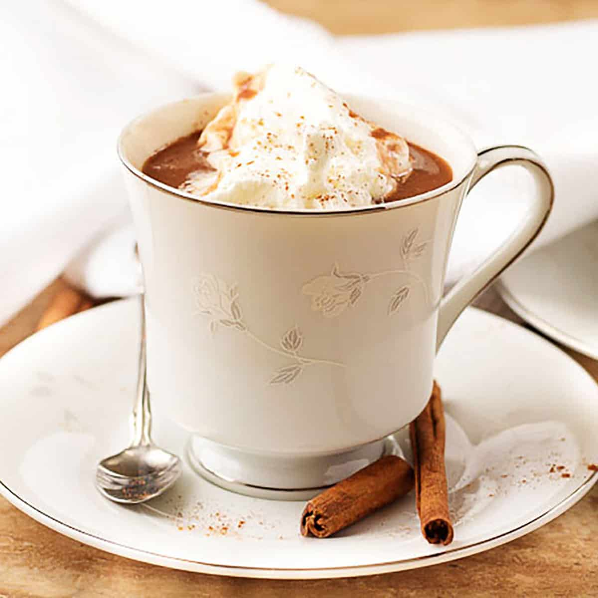 Hot cocoa in a white cup with homemade whipped cream and cinnamon sticks.
