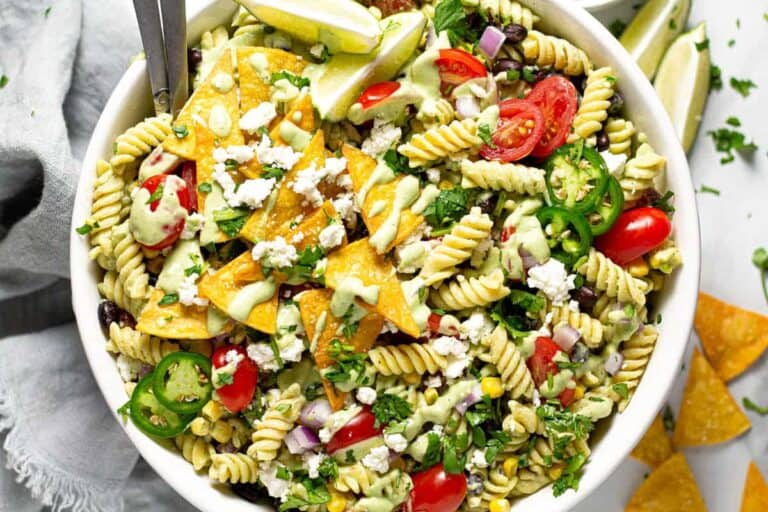 Close-up photo of the Southwest pasta salad in a bowl.