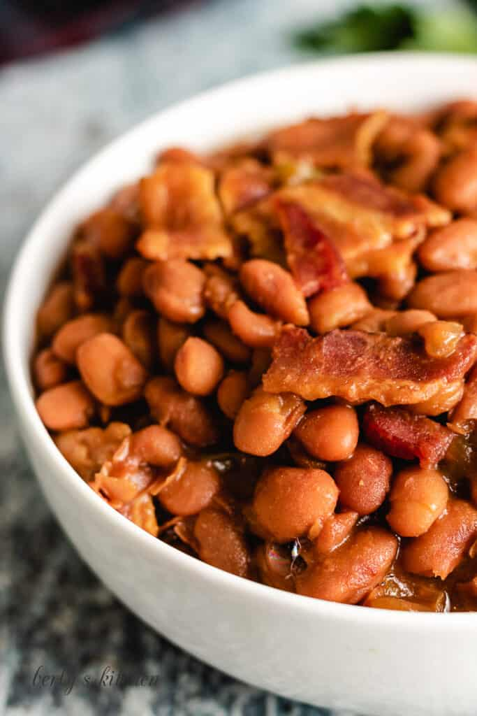 A close-up photo of the baked beans.